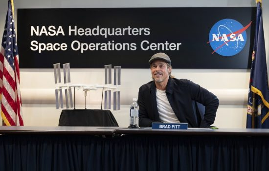 Brad Pitt Speaks with NASA Astronaut